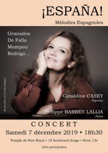 España ! Mélodies espagnoles par Géraldine Casey Soprano @ Temple de l'Annociation